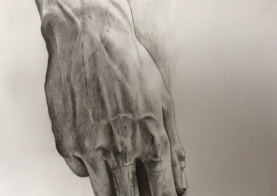 Hand of Michelangelo's David drawing by Sally Williams