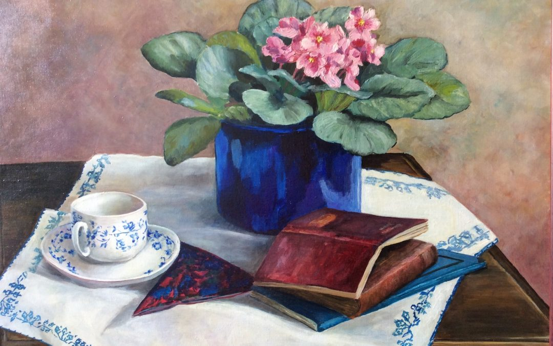 NEW: African Violets, painting by Sally Williams