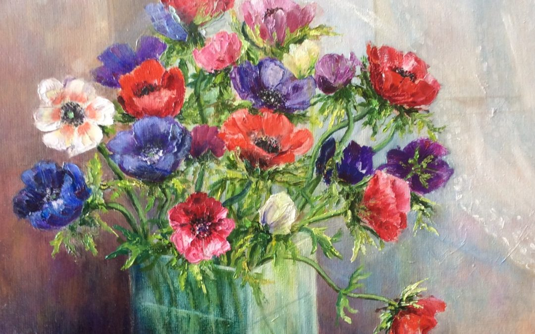 Anemones painting by Sally Williams
