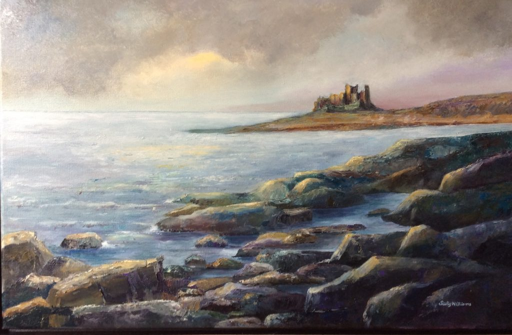 Evening light, Bamburgh - painting by Sally Williams