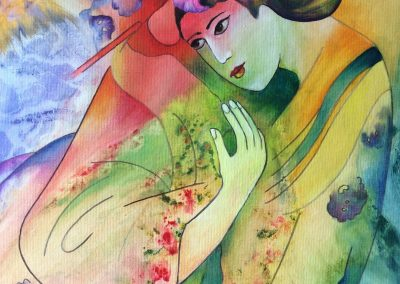 Geisha painting by Sally Williams