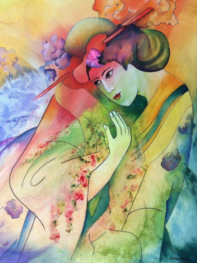 Geisha painting by Sally Williams