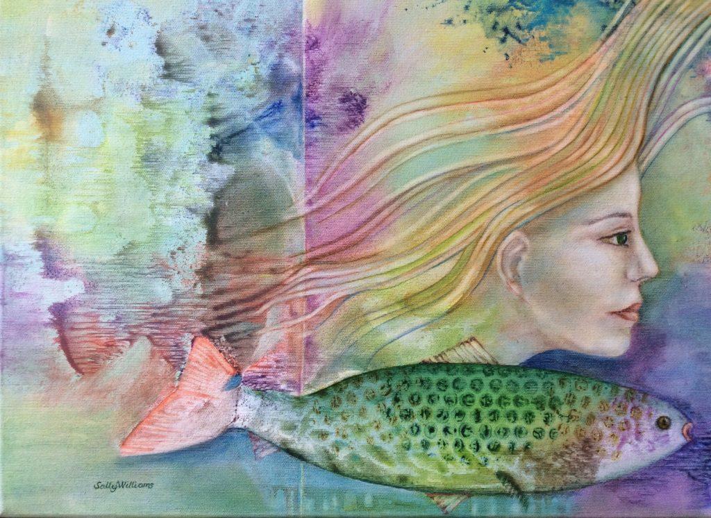 Mermaid painting by Sally Williams