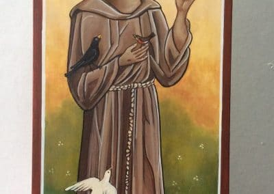 St Francis - icon by Sally Williams, Oil on Canvas, 60cm x 50cm