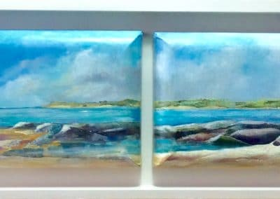 Coastal Panorama painting by Sally Williams Oil on Canvas 112cm x 30cm