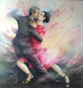 Strictly Tango painting by Sally Williams, Oil on Canvas, 80cms x 80cms