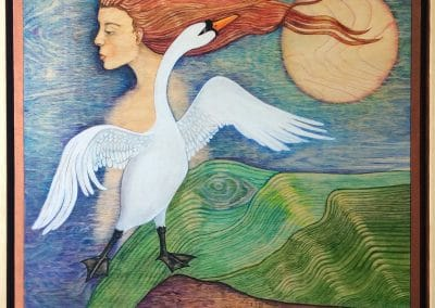 Leda and the Swan by Sally Williams, Oil on Wooden Panel, 50cm x 50cm