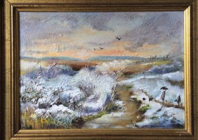 Snowfall in the Dunes by Sally Williams, Oil on Board, 33cm x 25cm